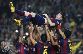 تبریک بارسلونایی ها به مسی بهترین گلزن تاریخ لالیگا